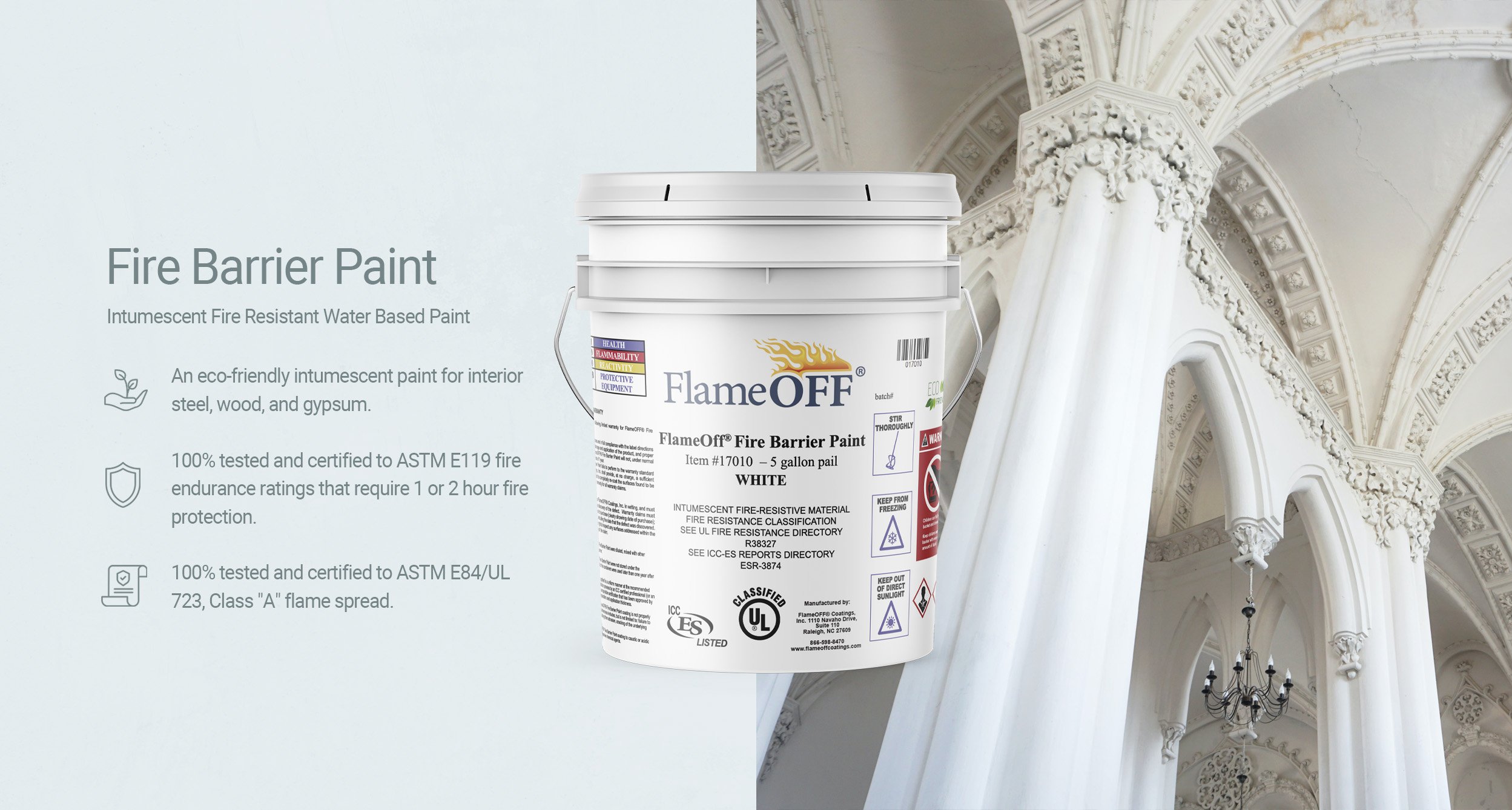 Fire barrier paint for gypsum